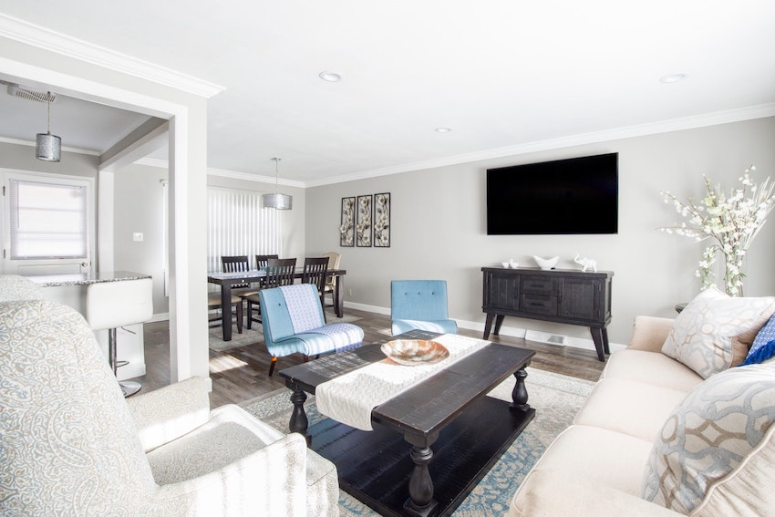 a neutrally staged living room