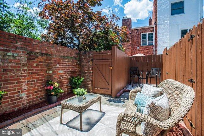 a fenced patio